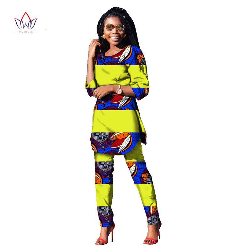 2018 Autumn Two Piece Casual Set Wax Top and Pants Suits African 6xl africa Cotton Clothing woman Plus Size Brand Custom