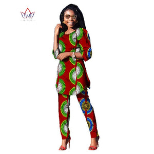 f9e4d1375c127 2018 Autumn Two Piece Casual Set Wax Top and Pants Suits African 6xl africa  Cotton Clothing
