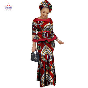 95f680f2160 African women two piece o-neck print Skirt set african clothing plus size  women cotton