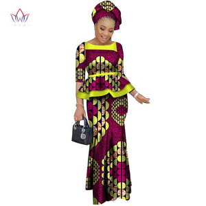 African women two piece o-neck print Skirt set african clothing plus size women cotton clothing regular