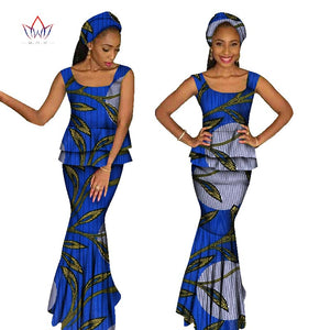 African Clothing For Women Two Piece Set  Top and Skirt Set Africa Print Dashiki O-Neck Plus Size set sleeveless