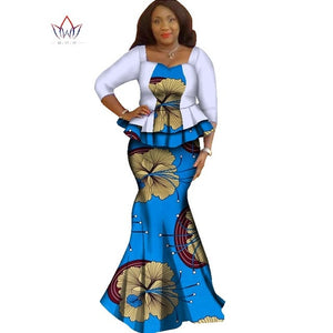 Skirt set african designed clothing traditional bazin print plus size skirt set evening cotton dress