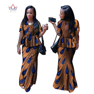 Skirt set african designed clothing V-Neck traditional print Bazin Riche plus size skirt set Clothing