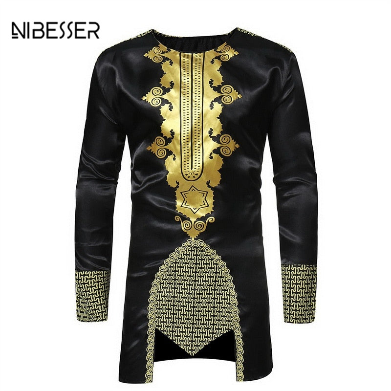 NIBESSER African Clothing Men T-Shirts Fashion Long Sleeve O Neck Tee Shirts National Wind Printes T-shirt Solid Tops Hip Hop
