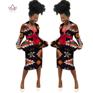 Summer New african skirt suits Dashiki women elegant lady casual set femme Bazin Riche cotton plus size two pieces BRW WY1839