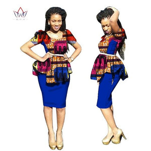 2018 New Arrivals traditional african dress Plus Size 2 Pieces Dashiki Skirt Set Bazin Rche Femme o-neck Clothing 5xl
