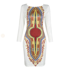2018 New Fashion Vestidos Women Summer Casual Deep O-Neck Traditional African Print Sexy Party Dresses #Sali513