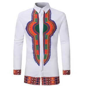 Men African Dashiki Clothing Men Traditional Bazin Riche African Style Printed T-shirts Long Sleeve Dashiki Shirt