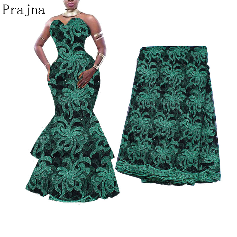Prajna Nigerian French Lace Fabrics 2018 African Tulle Ribbon Lace Fabric Trimmings Accessories Embroidered Clothing F