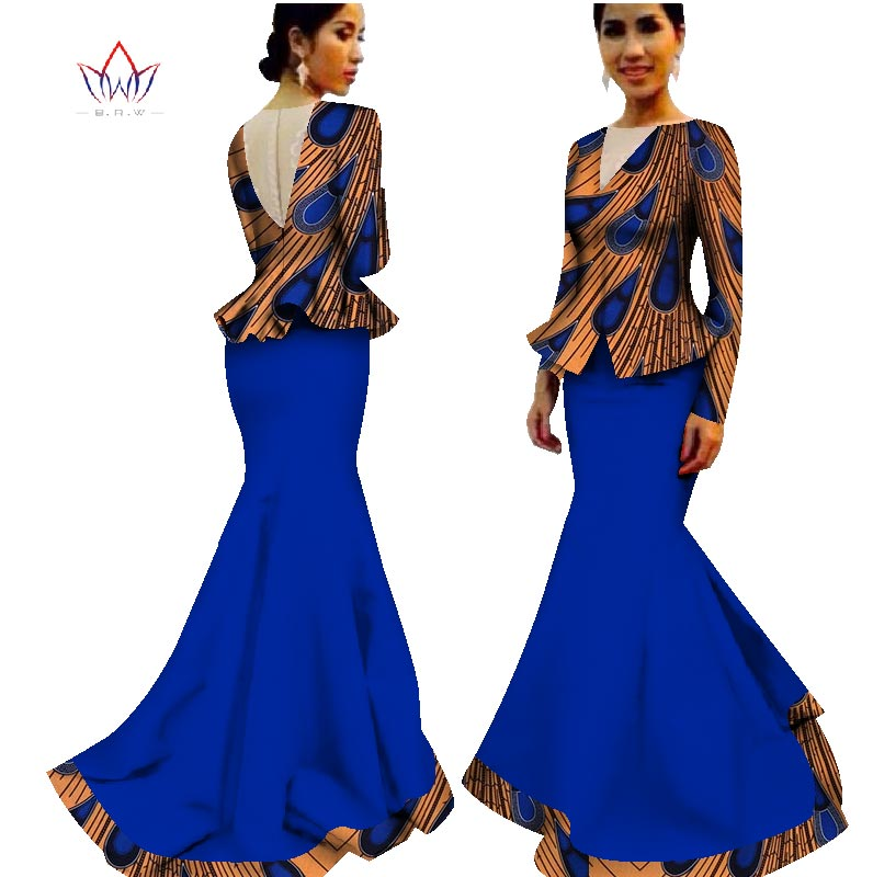 floor-length bazin traditional african clothing clothes Summer Two Piece Plus Size Dashiki Women v-neck Skirt