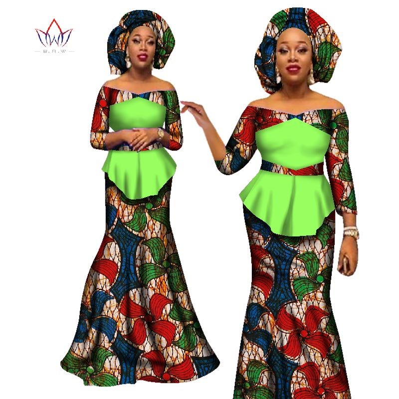 African women two piece v-neck print Skirt set african clothing plus size women cotton clothing