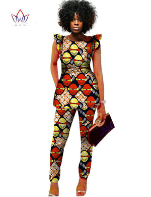 Dashiki Women 2 Piece Pants Sets Afrikaanse Jurken 2 Piece Outfits Pants Women African Outfits Brand Clothing Plus Size BRWWY517