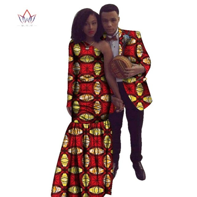 2018 new year African Dashiki for women Autumn Dress Bazin Riche Men Suit Mermaid Party Vestidos Plus Size cotton 4xl BRW WYQ17