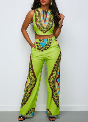 Fashion  African National Print Women's  Casual Suits Night Party green