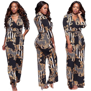 2018 Autumn Deep V Printed Pants Tie Jumpsuit Women Clothing Dashiki Sexy Sleeveless Combinations Clothing For African Women