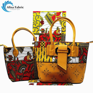 Alisa bag set African hand bag sets with 6 yards super wax hollandais African cotton wax print fabric and two bags for women