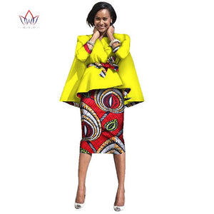 African clothing designs Dashiki maxi Knee-length dress women two pieces print nature work dress wome