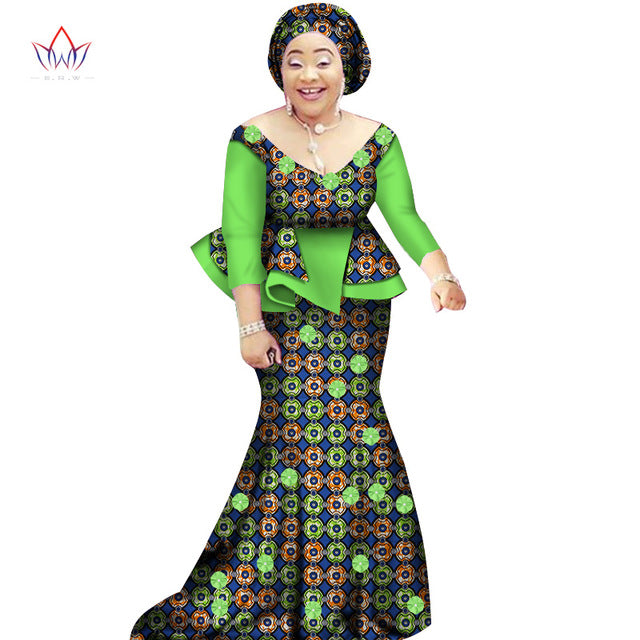 African women two piece o-neck print Skirt set african clothing plus size women cotton clothing