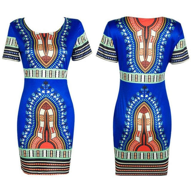 Plus Size Traditional African Floral Printed Dress Women Summer Short Sleeve Pencil Dresses Party Women's Casual Clothing #YL