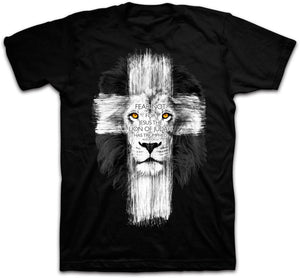 Revelation 5:5 Jesus Cross Fear Not the Lion of the tribe of Judah T-Shirt Mens Tops Tee Shirts