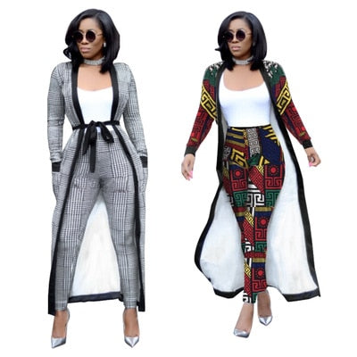 African Dashiki women's 2 piece set nightclub clothing lengthening widening plus pocket plus belt Suit For Lady