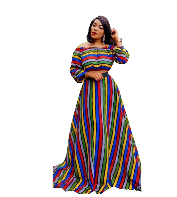 H&D  autumn robe femme African long sleeve outfit suits African women dress strip suit skirt set