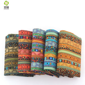 Shuanshuo Floral African Cotton Linen vintage fabric DIY Handmade Textile Sewing Patchwork For Bags Dress Clothes 145*50CM M44