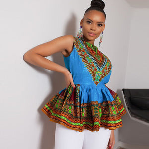 2018 Woman Dress Siamese Skirt Folk-customized Sleeveless Printed Dress Short Dresses African For Women African Clothing