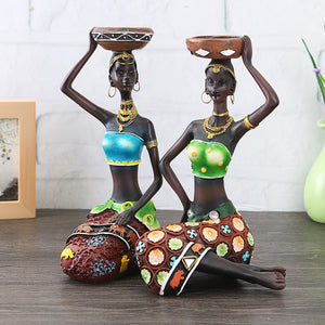 2X African Women Beauty Lady Decorative Statue Resin Figurine Craft Candlestick