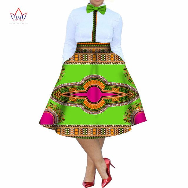 2018 summer dress Plus Size 2 Pieces African Print Dashiki Shirt Skirt Set Bazin Rche Femme Africa Clothing 5xl natural WY773