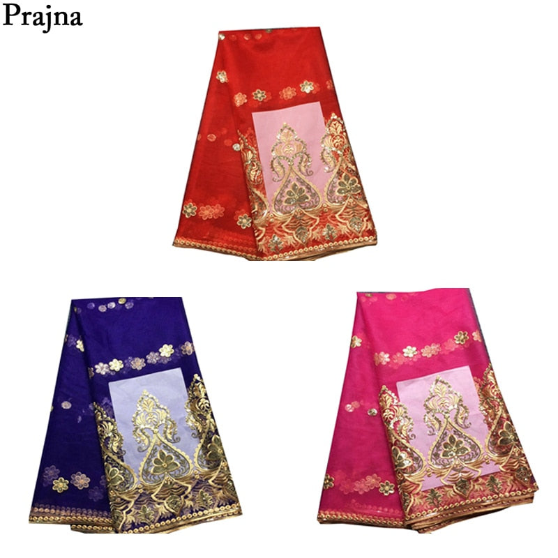 Prajna Red Royal Blue Nigerian Lace Fabrics Sequins Appliques Embroidered Dress African Clothing DIY Party French Sequin Uniform