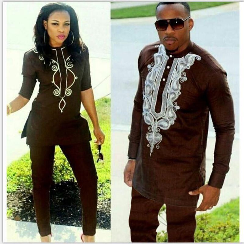 African couple dress african suits for women and men riche embroidery design Dashiki shirt pant set outfit suit clothes