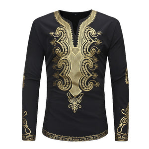 NIBESSER Traditional Men's Shirt African Clothing Ethnic Style Casual Comfort Printing Round Neck Long-sleeved T-shirt