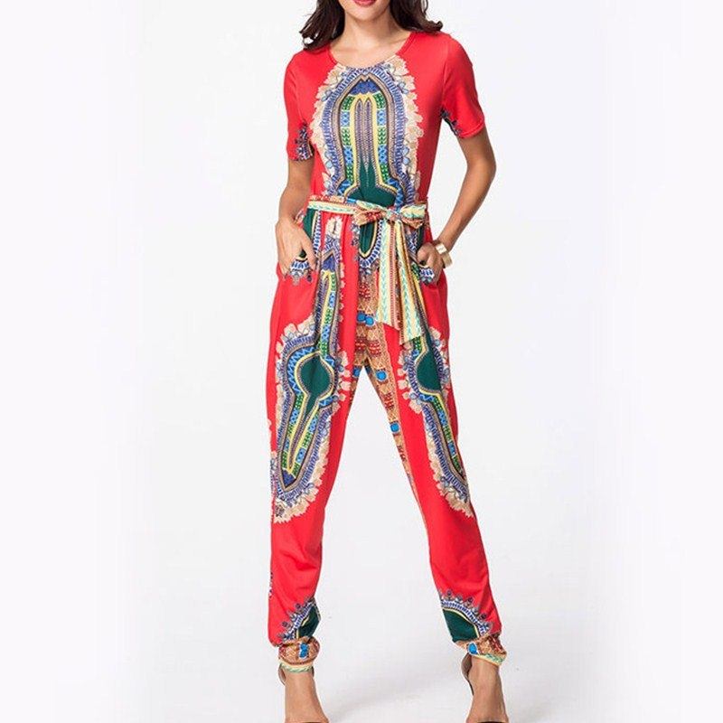 African Women Clothing Africa Print Jumpsuit Bohemian Short Sleeve Sashes Full Length Woman Dashiki Jumpsuit Red Black Gray