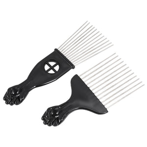 2Pcs Mental Pick Comb African American Afro Comb Hair Brush Hairdressing Styling Tool Black Fist