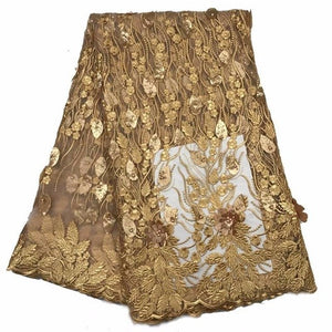 Gold African  Royal Embroidered Wedding Dress Lace 3D African Jacquard Laces Fabric Nigerian French Net Beautiful Decoration New
