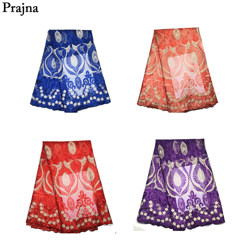 Prajna Snowflake Lace Fabrics African 2018 High Quality Nigerian Mesh Lace Polyester Cotton Dress DIY Woman Weeding Party Dress