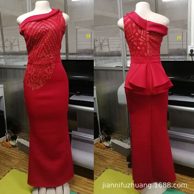 African Dresses For Women Special Offer Sale Cotton 2018 New robe de soiree mermaid Sexy RUFFLE Dress elegant africa Clothing