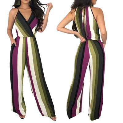 2018 African Dashiki Explosion models European and American sexy women's V-neck sling jumpsuit