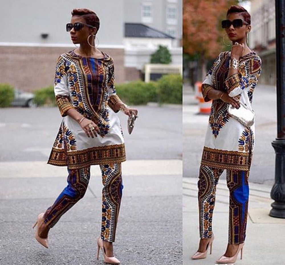 2018 African Dashiki Print Dresses Sets For Women African Two Pieces Set Print African Bazin Tops + Pants Clothin