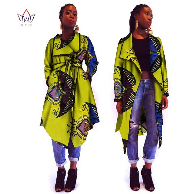 2018 outerwear New Summer African trench coat for women plus size Dashiki Africa Traditional Clothing casual cotton 6xl WY927