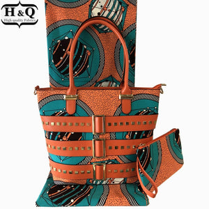 2018 Fashion african wax bag set, 6 yards dutch wax fabric with high quality african woman's wax hand bag for church party