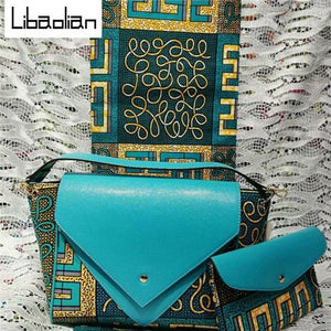 bag set African hand bag sets with 6 yards super wax hollandais African cotton wax print fabric and two bags for formal