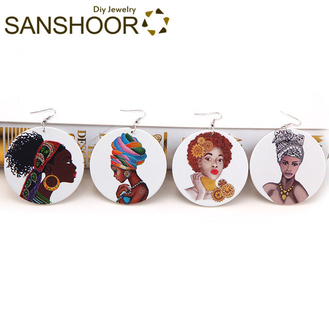 Printed AFRO Queen Headwrap Woman Wood Dangle Earrings African Natural Hair Black Ethnic Jewelry For Women Gift 8Pairs