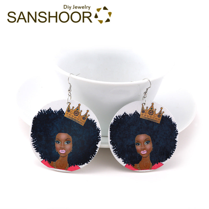 Beautiful Headwrap Girl Wood Earrings African Queen Pattern Bohemia Jewelry As Christmas Gifts For Women 1Pair