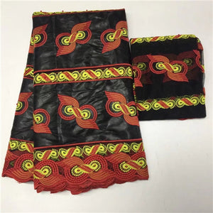 5+2 Yard Red Black Color Bazin Riche Getzner Beaded Tulle Fabric Embroidered Blouses African Head Wraps Bazin Riche Lace