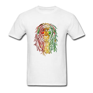 NLKING BRAND summer new casual trend short-sleeved cotton loose T-shirt casual fashion Rasta Vibe Lion t shirt rastafarian lion