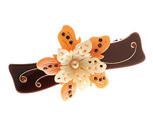 "L. Erickson Chantilly Classic Rectangle Barrette, Brown/Coral, 3.5""x3/4"""