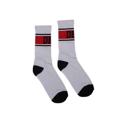 DBL Casual White Socks - Red / Black