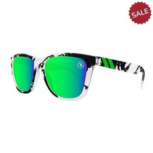 Blenders // Celtic Son-Sunglasses-Blenders-White&Black/Green Mirror Lenses-Viso Sun Shop